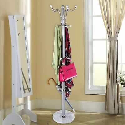 Tree Style 15 Hooks Hat Coat Clothes Rack Metal Umbrella Stand Marbel Base Ring