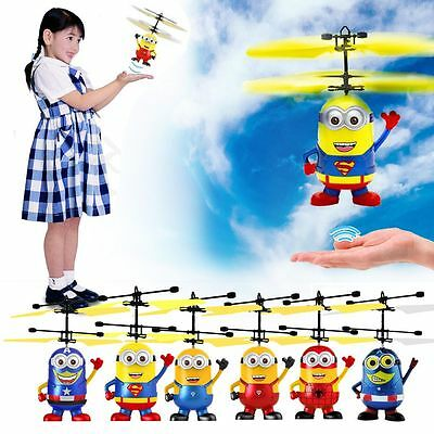 Despicable Me Flying Drone Aircraft Minion Helicopter Toys Bauble Gift For Kids