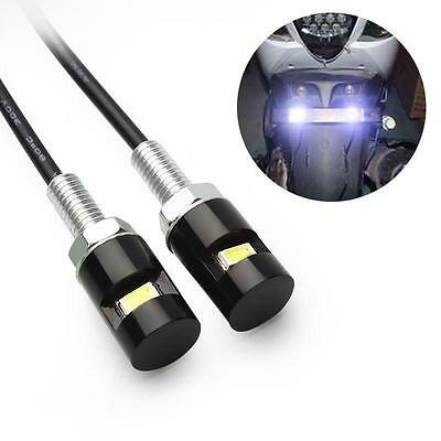 2x NUMBER PLATE SCREW/BOLT LED WHITE LIGHTS FOR TAIL TIDY MOTORCYCLE BIKE 12V