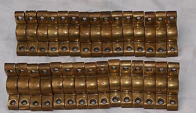 "30 ANTIQUE RECLAIMED BRASS or BRONZE STAIR BRACKETS CLIPS FOR 1/2"" (13mm) RODS"