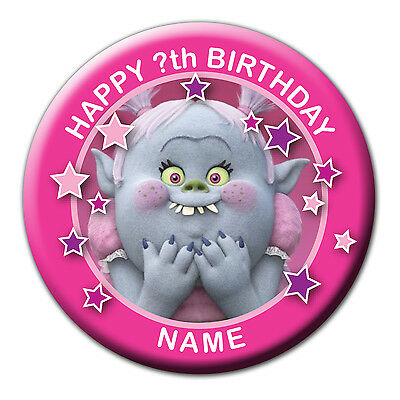 PERSONALISED TROLLS BRIDGET BIRTHDAY BADGES/FRIDGE MAGNETS/MIRRORS 58MM or 77MM