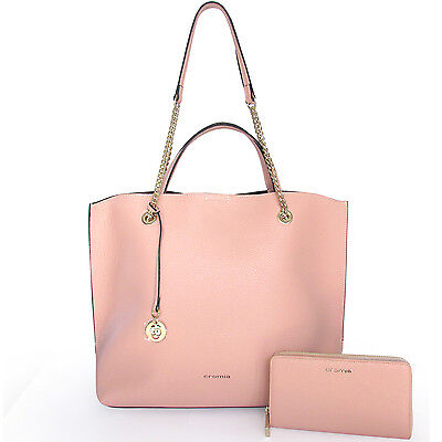 ac96ccd610 CROMIA Made in Italy women s glamour pink leather Tote bag + matching  wallet set