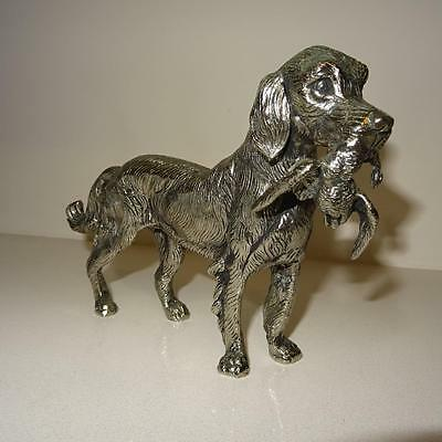 Large Antique Heavy Silver Metal Sculpture of Spaniel with a Duck in it's Mouth