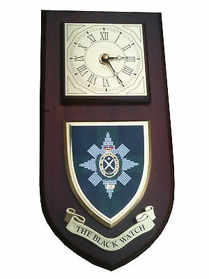The Black Watch Military Shield Wall Plaque Clock