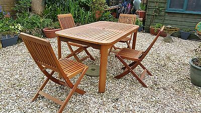Garden Patio Conservatory Hard Wood Table And Chairs