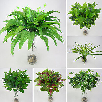 Artificial Fake Plastic Green Grass Plant Flowers Home Office Party Garden Decor
