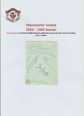 Manchester United 1959-1960 Rare Orig Hand Signed Auto Book Page 6 X Signatures