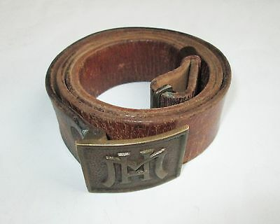 1945 WW2 VINTAGE ANTIQUE BULGARIAN POLICE MILITIA LEATHER BELT with BRASS BUCKLE