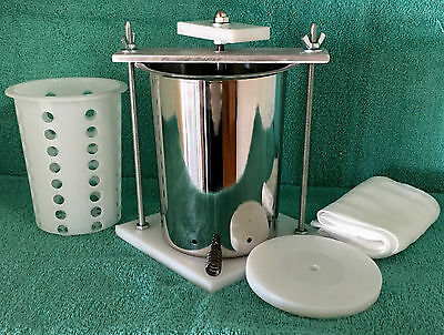 """CHEESE PRESS STAINLESS STEEL 4""""  SPRING ASSISTED W HDPE Soft Cheese Mold"""
