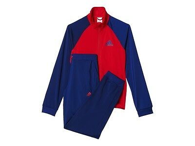 New Adidas Girls Track Suit Entry TS Training Age 4 - 12 years Red/Navy Slim Leg