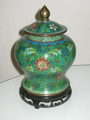 Stunning Antique Chinese Cloisonne Lidded Vase