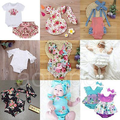 Newborn Toddler Baby Girls Romper Jumpsuit Bodysuit Headband Clothes Outfits Set