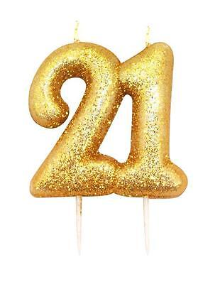 Gold Glitter Numeral Number Moulded Cake Candle - No 21