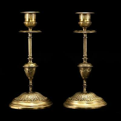 Beautiful Pair of Antique Brass Bronze Candlesticks Candle Holders