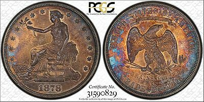 1878S Trade Dollar PCGS Secure AU58 PQ $1 Coin Beautiful Toning Stunning