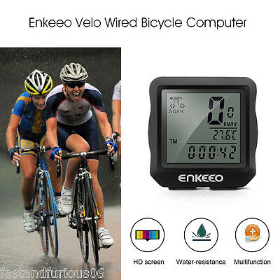 Wired Cadence Cycling Bike Bicycle Computer Speedometer ODO TRIP-DST RIDETIME AU