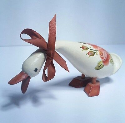 Beautiful 1984 Hand Carved &Painted Wooden Goose  Artist Jean Miller