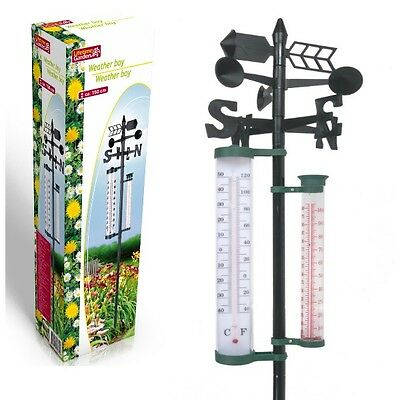 gartenthermometer mit regenmesser u wetterfahne 150cm. Black Bedroom Furniture Sets. Home Design Ideas