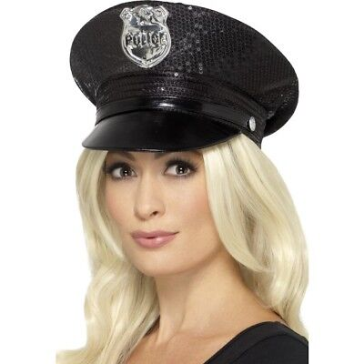 Black Police Hat Sequin American Cop With Badge Adults Fancy Dress Acessory