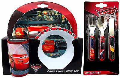 Disney Pixar 'Cars 3' ' 6-Piece Dinner and Cutlery Set | Mealtime | Melamine