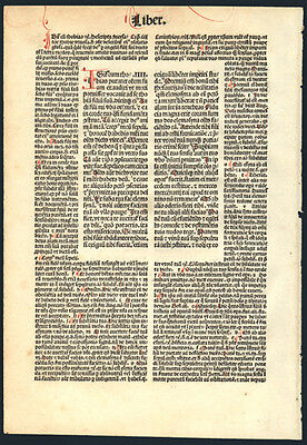 Koberger Incunable Bible Leaf Book of Tobit Hand Colored Letters Nuremberg