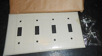 Qty 2 1960 Ivory Ribbed Box 2 Vintage 4 Gang Eagle Bakelite Switch Cover Plate