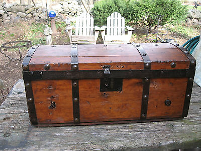"23"" ANTIQUE JENNY LIND ERA 1800s TRUNK WOOD DOME TOP CHEST DOCUMENT DOLL BOX"
