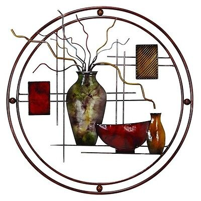 Metal Wall Art Modern Abstract Sculpture Contemporary Stained Glass Home Accent