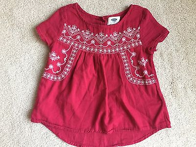 Toddler Girl's OLD NAVY Pink Lightweight Embroidered Short Sleeve Top Size 5T