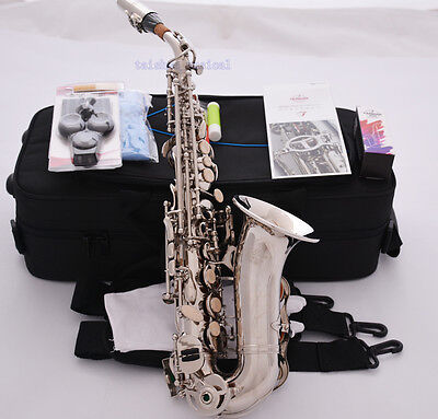 Professional TaiShan Silver nickel Curved Soprano Saxophone Bb High F# Sax New
