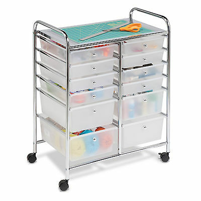 Honey-Can-Do 12-Drawer Rolling Cart - Clear/Chrome - US Seller Free Shipping