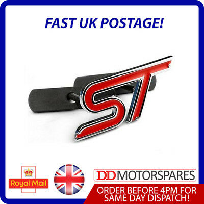 RED Metal Ford ST Zetec S Grill Badge For Fiesta/Focus With Fitting Kit