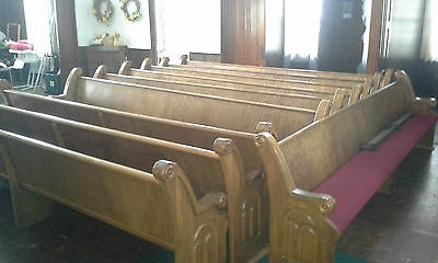 Solid Quater Sawn Oak12 Foot Church Pews w/Red Cushions  Over 100 Years Old!!!!
