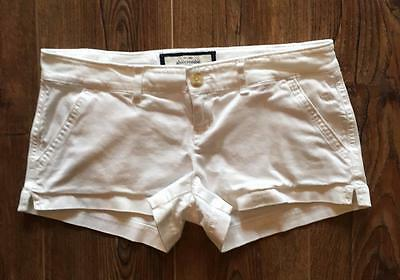 """ABERCROMBIE 16 White Stretch Shorts Waist 29"""" Chinos Low Rise Girls"""