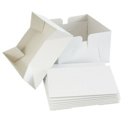 "White Cake Boxes - Box & Lid - Single + Bulk - 6"" 8"" 9"" 10"" 11"" 12"" 13"" 14"" Inch"