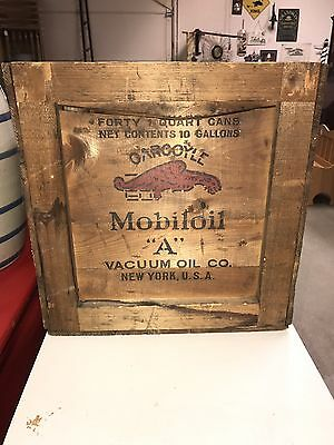 Rare Early Mobiloil Gargoyle Forty 1 Quart Can Wood Crate! Nice!!