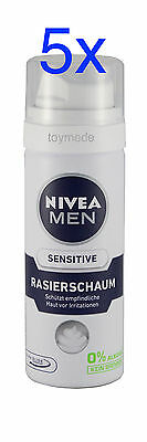 5x 50ml NIVEA for MEN sensitive Rasierschaum Anti-Hautirritation Travel size
