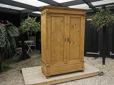 Fab! Large Old Antique (Victorian) 'knock Down' Sectional Pine Double Wardrobe