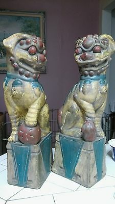 Rare Vintage Hand Carved Wooden Chinese Foo Dogs