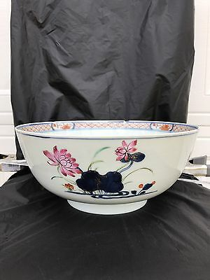 Large ANTIQUE CHINESE EXPORT PORCELAIN BOWL FAMILLE ROSE