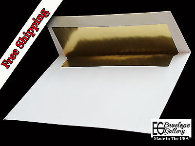 70lb Bright White Gold Foil Lined A7 Envelopes for 5 x 7 Invitations Weddings