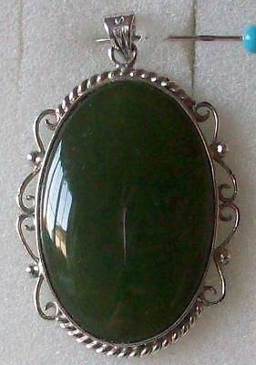 Vintage Beautiful Spinach Green Genuine Jade Large Sterling Silver Pendant