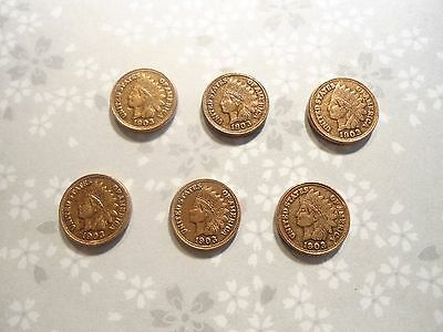 6 Copper Indian Head 10mm Miniature Penny Charms Findings