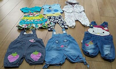 Matalan baby girl dress, leggings, romper, t shirt and dungarees age 3-6 months