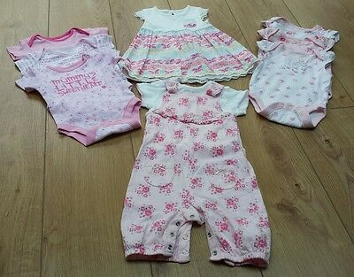 George baby girl bundle bodysuits, dress, dungaree set age 3-6 months