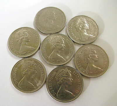 Lot of 7 British 10 Pence Coins — Circulated Condition.