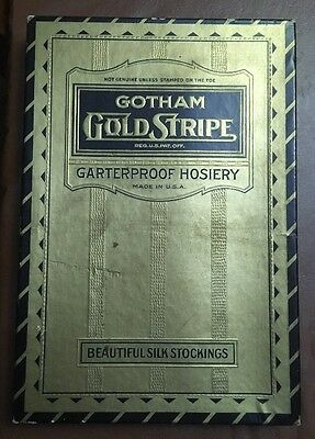 Antique GOTHAM Silk Stockings Box Gold Black 100 Yrs Old Advertising GARTERPROOF