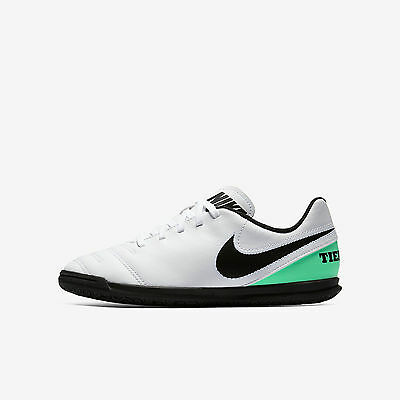 Nike JR TIEMPOX RIO III IC White Green Youth Athletic Indoor Soccer Shoes