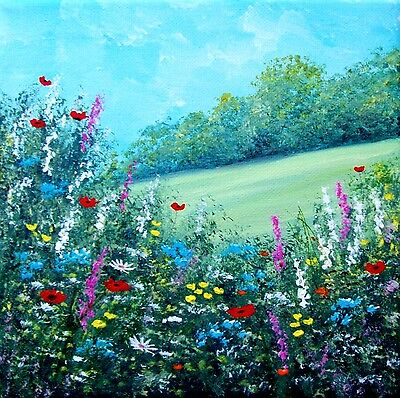 Original Summer Wildflower Hedgerow  Acrylic On Canvas Painting