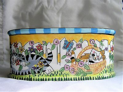 Candace Reiter Catzilla Collection Oval Bowl Dish Planter Spring Flowers 2004